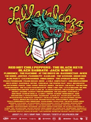 Red Hot Chili Peppers confirmed to headline Lollapalooza festival, 2012 lineup announced in full