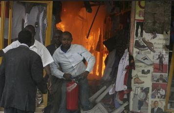 Dozens were hurt in a bomb blast at small clothing shops downtown Nairobi