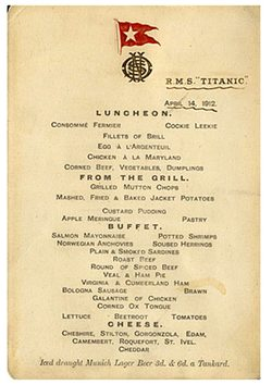 Titanic\'s lunch menu heading for auction, reminder of last meal on board