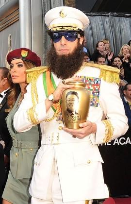 Sacha Baron Cohen stunts at 2012 Oscars dressed up like \'The Dictator\'
