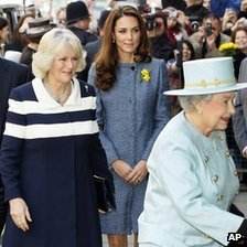 Britain\'s Queen Elizabeth visits Fortnum and Mason joined by Camilla and Catherine