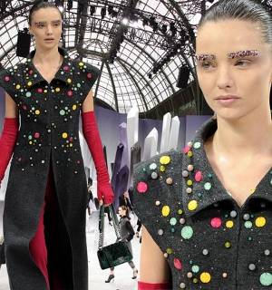 Miranda Kerr and fellow models wear crystal-encrusted eyebrows at Chanel show in Paris biography