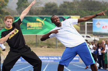 Britain\'s Prince Harry beats world\'s fastest man Usain Bolt in a 20m sprit in Jamaica