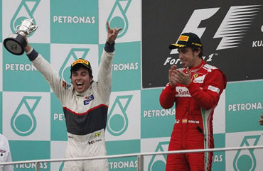 Ferrari\'s Fernando Alonso wins at Malaysian GP 2012, Sauber\'s Sergios Perez comes second